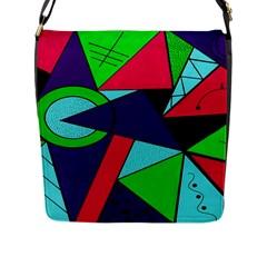 Modern Art Flap Closure Messenger Bag (large)