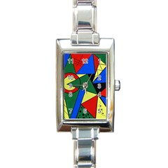 Modern Art Rectangular Italian Charm Watch