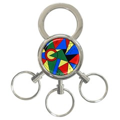 Modern Art 3 Ring Key Chain