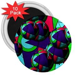 Balls 3  Button Magnet (10 Pack)