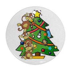 Monkey Business Round Ornament