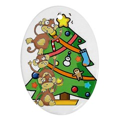 Monkey Business Oval Ornament