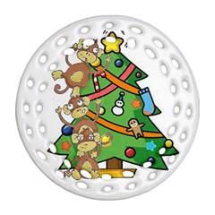Monkey Business Round Filigree Ornament (two Sides)