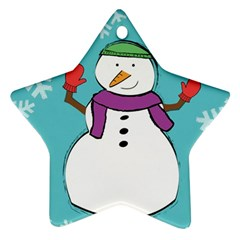 Snowman Star Ornament (two Sides)