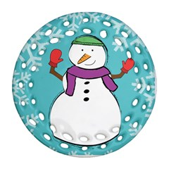 snowman Round Filigree Ornament (Two Sides)