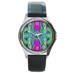 Modern Design Round Metal Watch (silver Rim)