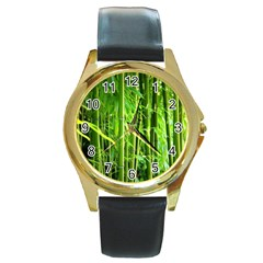 Bamboo Round Metal Watch (Gold Rim)
