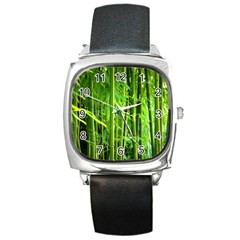 Bamboo Square Leather Watch