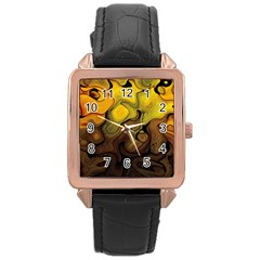 Modern Art Rose Gold Leather Watch