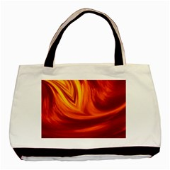 Wave Twin Sided Black Tote Bag