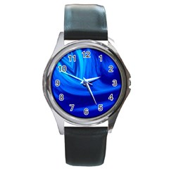 Wave Round Metal Watch (Silver Rim)