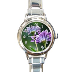 Flower Round Italian Charm Watch