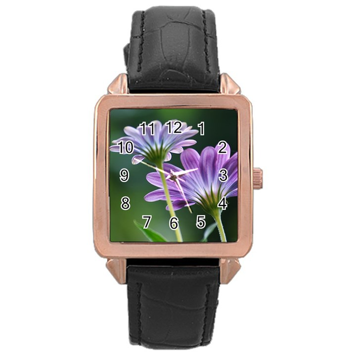 Flower Rose Gold Leather Watch