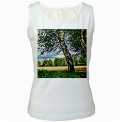 Trees Womens  Tank Top (White)