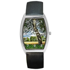 Trees Tonneau Leather Watch