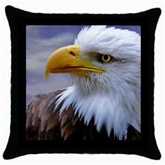 Bald Eagle Black Throw Pillow Case