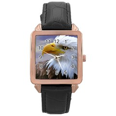 Bald Eagle Rose Gold Leather Watch