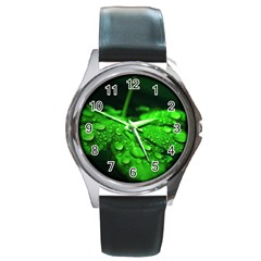 Waterdrops Round Metal Watch (Silver Rim)