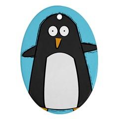 hello penguin Oval Ornament