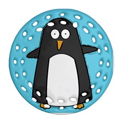 hello penguin Round Filigree Ornament