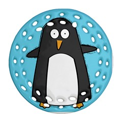 Hello Penguin Round Filigree Ornament (two Sides)
