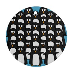 penguin group Round Ornament (Two Sides)