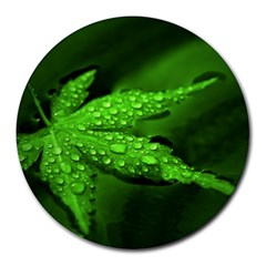 Leaf With Drops 8  Mouse Pad (Round)