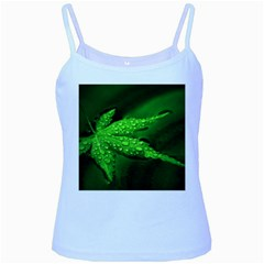 Leaf With Drops Baby Blue Spaghetti Tank