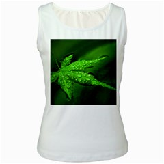 Leaf With Drops Womens  Tank Top (White)
