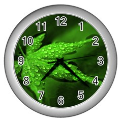 Leaf With Drops Wall Clock (Silver)