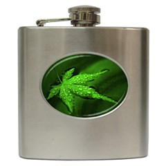 Leaf With Drops Hip Flask