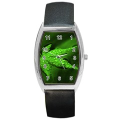 Leaf With Drops Tonneau Leather Watch