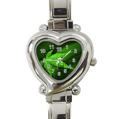 Leaf With Drops Heart Italian Charm Watch