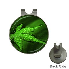 Leaf With Drops Hat Clip with Golf Ball Marker