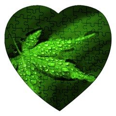 Leaf With Drops Jigsaw Puzzle (Heart)