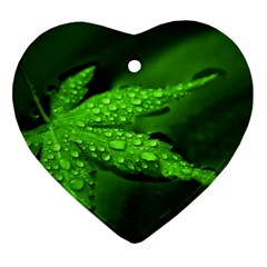 Leaf With Drops Heart Ornament (two Sides)
