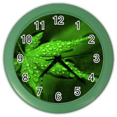 Leaf With Drops Wall Clock (color)