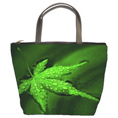 Leaf With Drops Bucket Bag
