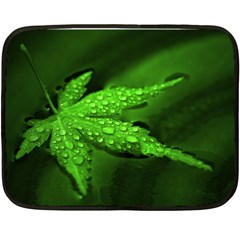 Leaf With Drops Mini Fleece Blanket (two Sided)
