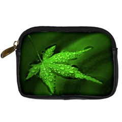 Leaf With Drops Digital Camera Leather Case