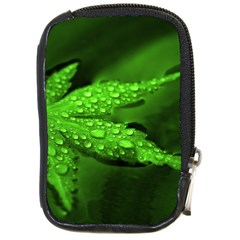 Leaf With Drops Compact Camera Leather Case