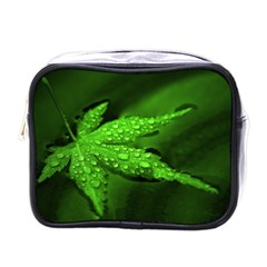 Leaf With Drops Mini Travel Toiletry Bag (one Side)