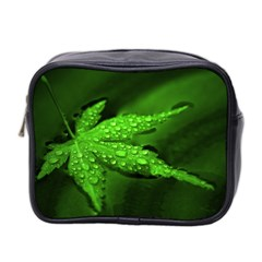 Leaf With Drops Mini Travel Toiletry Bag (Two Sides)