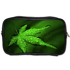 Leaf With Drops Travel Toiletry Bag (two Sides)