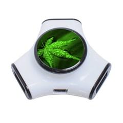 Leaf With Drops 3 Port USB Hub