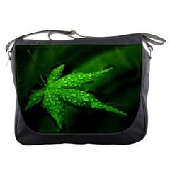 Leaf With Drops Messenger Bag