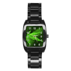 Leaf With Drops Men s Stainless Steel Barrel Analog Watch