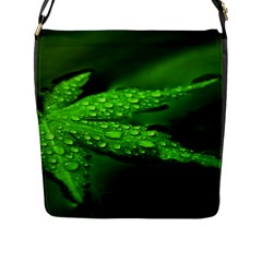Leaf With Drops Flap Closure Messenger Bag (Large)