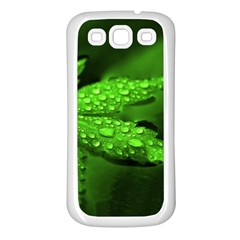 Leaf With Drops Samsung Galaxy S3 Back Case (White)