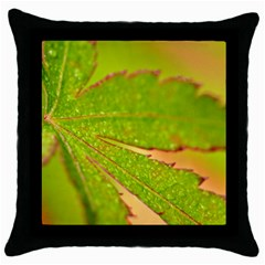 Leaf Black Throw Pillow Case